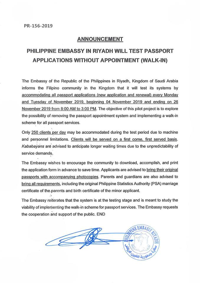 PH Embassy in KSA Launches Trial of Passport Applications without Appointment