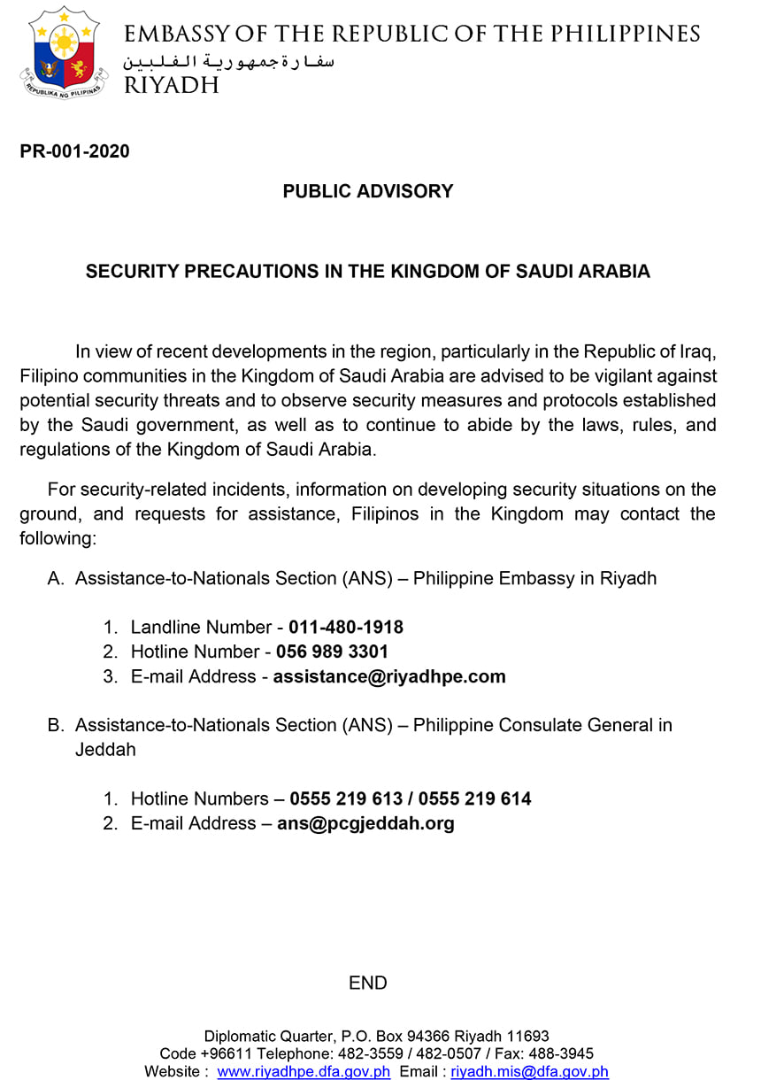 philippine advisory embassy filipinos in saudi Arabia